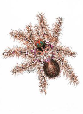 Artist Richard Brooks Drawing - Spider Face by Richard Brooks