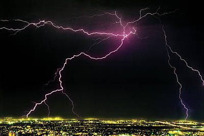 Striking Photograph - Spider Lightning Over City, With Cloud by Thomas Wiewandt