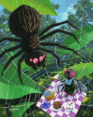 Friendly Digital Art - Spider Picnic by Martin Davey