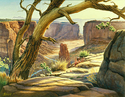 Navajo Painting - Spider Rock Overlook - Canyon Dechelly by Paul Krapf