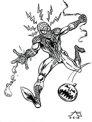 Marvel Drawing - Spidey Dodges A Pumpkin Bomb by John Ashton Golden