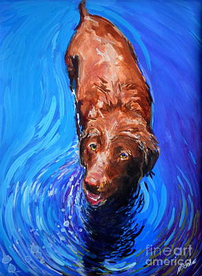 Chocolate Labrador Painting - Spin Cycle by Molly Poole