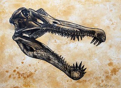 Dinosaur Painting - Spinosaurus Skull by Harm  Plat