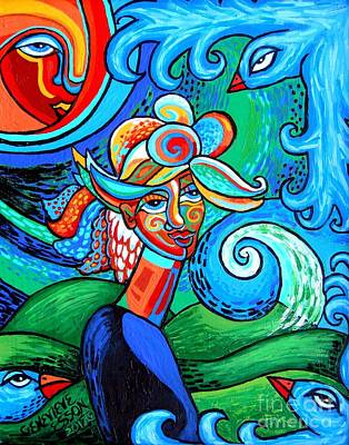 Modernart Painting - Spiral Bird Lady by Genevieve Esson