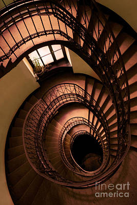 Spiral Staircaise In Browns Print by Jaroslaw Blaminsky