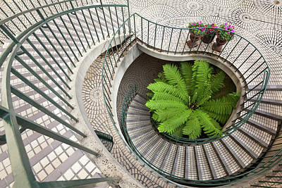 Downtown Stairs Photograph - Spiral Staircase At The Embarcadero by Chuck Haney