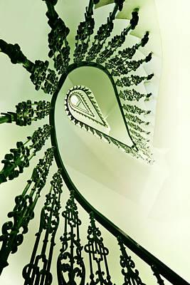 Spiral Staircase In Green Print by Jaroslaw Blaminsky