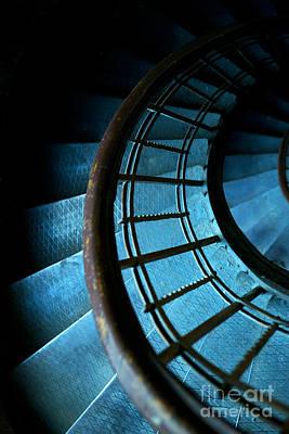 Spiral Stairs In Ocean Blue Print by Jaroslaw Blaminsky