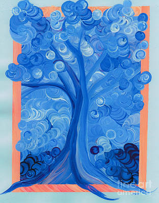 Painting - Spiral Tree Winter Blue by First Star Art