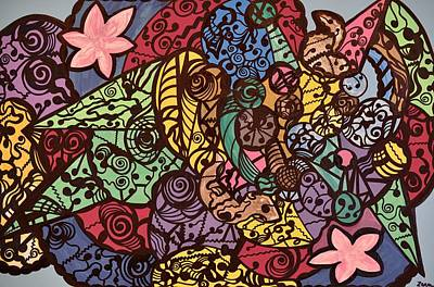 Outsider Painting - Spirals Cascading Through A Maze Of Colors by Sally Barnard