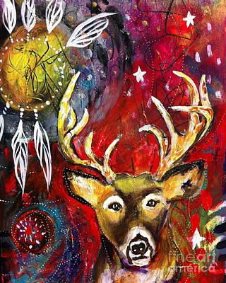 Dreamcatcher Painting - Spirit Deer And The Dreamcatcher by Kim Heil