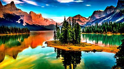 Spirit Island On Maligne Lake Jasper National Park Print by Bob and Nadine Johnston