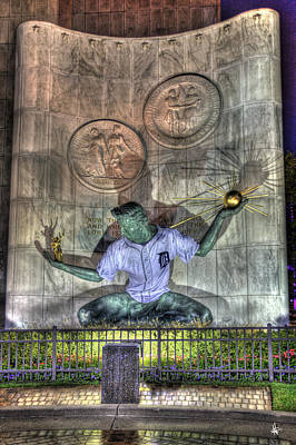 Spirit Of Detroit In Tiger Jersey Detroit Mi Print by A And N Art