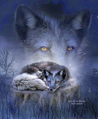 Animal Art Giclee Mixed Media - Spirit Of The Blue Fox by Carol Cavalaris