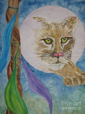 Visionary Art Painting - Spirit Of The Mountain Lion by Ellen Levinson
