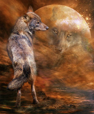 Art In Nature Mixed Media - Spirit Of The Wolf by Carol Cavalaris