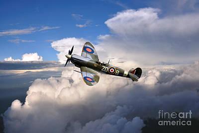 Spitfire Air To Air Print by J Biggadike