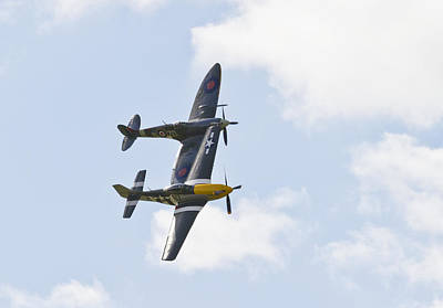 Ferocious Frankie Photograph - Spitfire And Mustang Touching Wings by Maj Seda