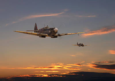 Sunset Digital Art - Spitfire - Mission Complete by Pat Speirs