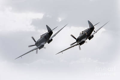 Raf Photograph - Spitfire Pair by J Biggadike
