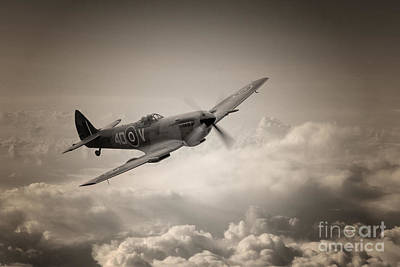 Spitfire Digital Art - Spitfire Patrol by J Biggadike