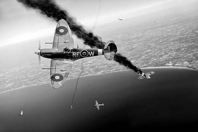Raf Photograph - Raf Spitfires In Channel Dogfight Black And White Version by Gary Eason