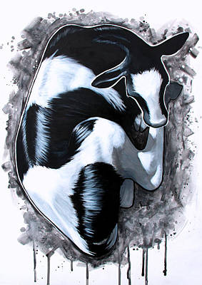 Cow Painting - Splash by Emma Caldwell