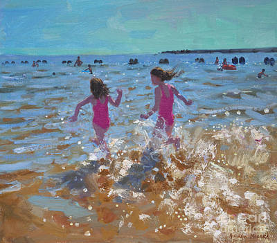 Sisters Painting - Splashing In The Sea by Andrew Macara
