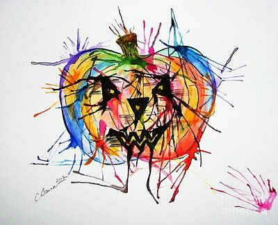 Painting - Splatter Pumpkin by Christy Bruna