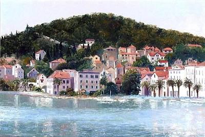 Old Street Painting - Split Harbour Croatia by Jan Matson