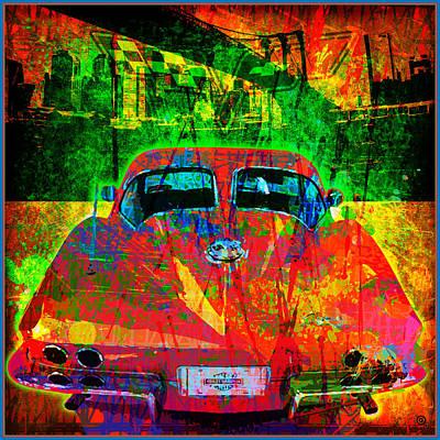 Gary Digital Art - Split Window Corvette by Gary Grayson