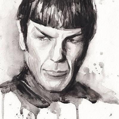 Stars Painting - Spock Portrait Watercolor Star Trek Fan Art by Olga Shvartsur
