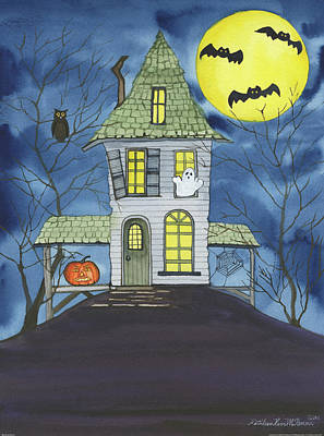 Bat Painting - Spooky Halloween by Kathleen Parr Mckenna