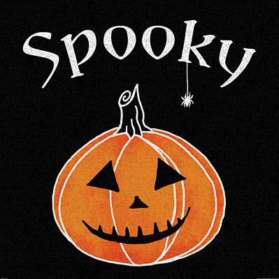 Spider Painting - Spooky Jack O Lantern I by Elyse Deneige