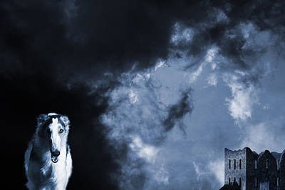 Spooky Wolflike Borzoi Hound And Old Castle Print by Christian Lagereek