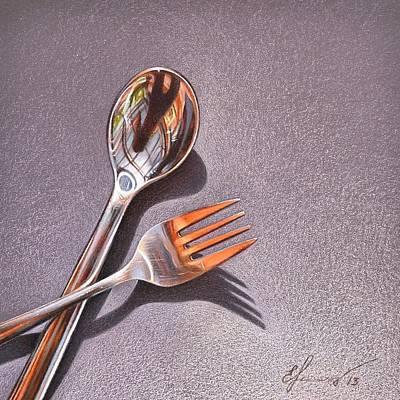 Mixed Media - Spoon And Fork 1 by Elena Kolotusha