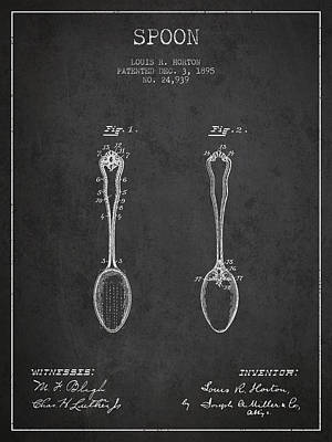 Spoon Patent From 1895 - Dark Print by Aged Pixel