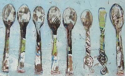Glass Painting - Spoons by Debbie Clarke