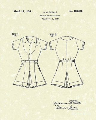 Tennis Drawing - Sports Garment 1938 Patent Art by Prior Art Design