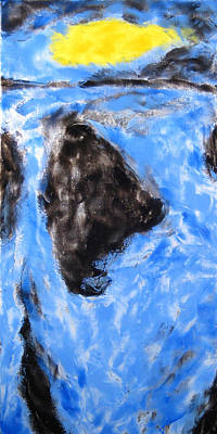 Canary Mixed Media - spot canary cobalt A by Kirk Ellison