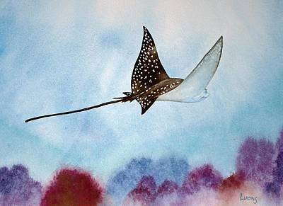 Eagle Ray Painting - Spotte Eagle Ray 1 by Jeff Lucas