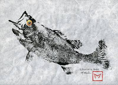 Largemouth Mixed Media - Spotted Bass Gyotaku by Matt Monahan