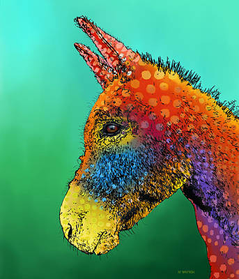 Adorable Digital Art - Spotted Donkey by Marlene Watson
