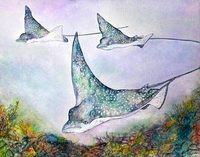 Eagle Ray Painting - Spotted Eagle Rays by Janet Immordino