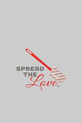 Spoon Digital Art - Spread The Love In Red by Nancy Ingersoll
