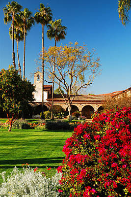Of Flowering Palm Tree Photograph - Spring At Mission San Juan Capistrano by James Kirkikis