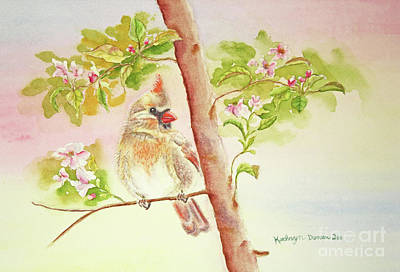 Cardinals In Watercolor Painting - Spring Blossoms II by Kathryn Duncan