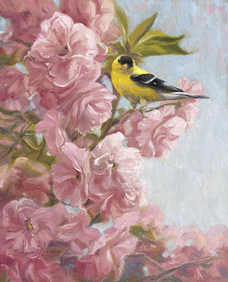 Finch Painting - Spring Blossoms by Lucie Bilodeau