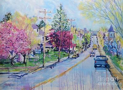 En Route Painting - Spring Bus Stop by Larry Lerew