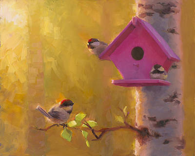 Leaves Painting - Spring Chickadees 1 - Birdhouse And Birch Forest by Karen Whitworth